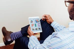 man, sales, graph, ipad